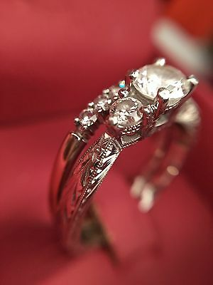 Stunning vintage design 14k platinum wedding ring set, round cut diamonds