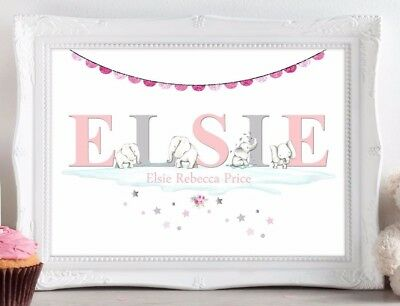 Baby Elephant Print Nursery Wall Art Personalised Birth Picture Christening Gift