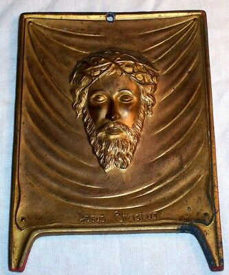Antique JESUS CHRISTUS Cast Metal Plaque  Christ Crucified Crown Thorns Catholic