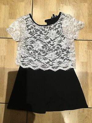 Girls Play suit Black And Cream . Matalan. Age 10-11 Years