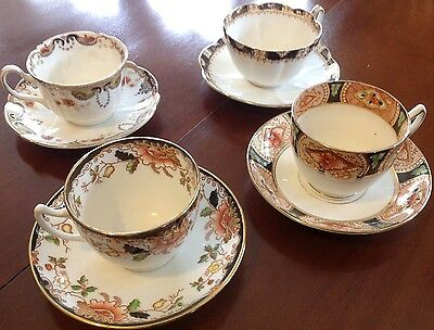 Curated set of 4 beautiful antique Victorian tea cups