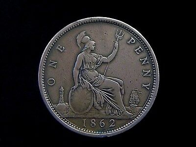 1862 UK Great Britain Queen Victoria 1 Penny VF Details  CC8387