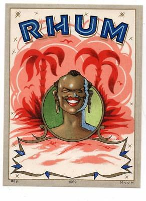 RHUM, black man, palm trees, dep 1060, M.v.d.H, original antique rum label #125