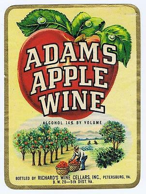 Adams Apple Wine orchard Richards wine cellars, Petersburg VA antique label #49