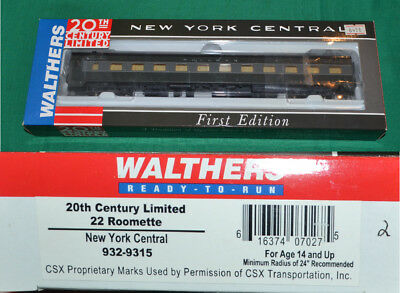 New York Central NYC  20th Century 22 Roomette   Walthers 932-9315 HO [N16.26]