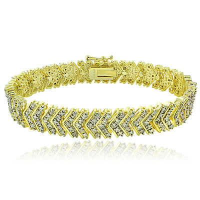 18K Gold Plated Brass 1ct TDW Diamond Chevron Bracelet