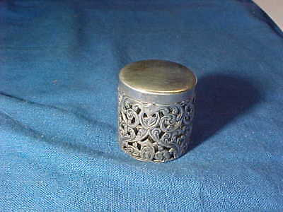 19thc VICTORIAN Era STERLING Silver Sewing THIMBLE CASE Ornate Design