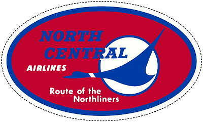 North Central Airlines Baggage Luggage Label Decal Sticker