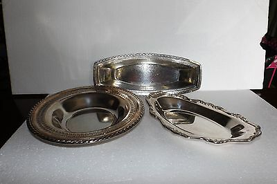 Lot Of 3 Vintage And Antique Large Silverplated Serving Bowls Quality Pieces