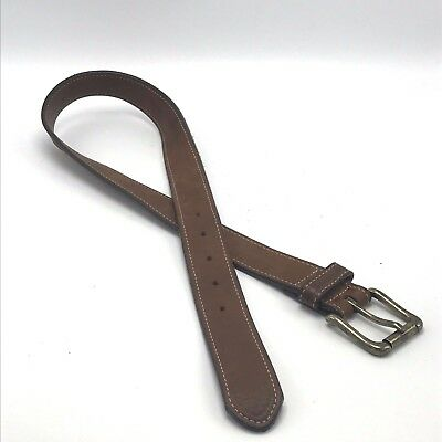 """L.L. Bean Brown Leather Belt Boy's Kids 28"""" Made in USA 1-1/4"""" Wide"""