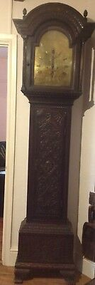 19th C. OAK CARVED 8 DAY BRASS FACE GRANDFATHER CLOCK. THOMAS HOGARTH