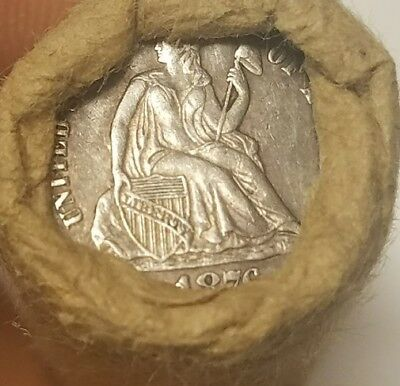 Unsearched wheat cent roll - 1876 seated dime and beautifully toned IHC ends