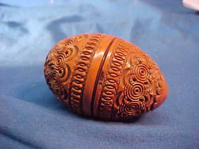 19thc SEWING EGG Shape Hand Carved THIMBLE CASE Ornate VEGETABLE IVORY # 2