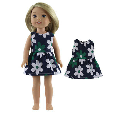 Green Flower Printed Dress Party Outfit Fit for 14inch American Girl Doll