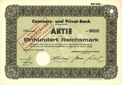 Commerz- und Privat-Bank AG Hamburg 1932 Aktie 100 RM Commerzbank his Wertpapier