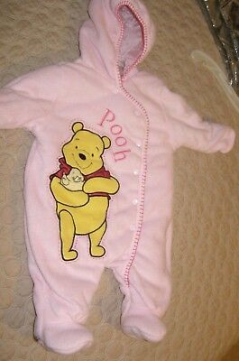 Disney POOH 3/6 ms Girls One piece Coat footed bunting