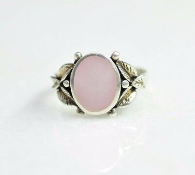 Sterling Silver Ornate Pink Mother of Pearl Ring Size 8 [11DU]