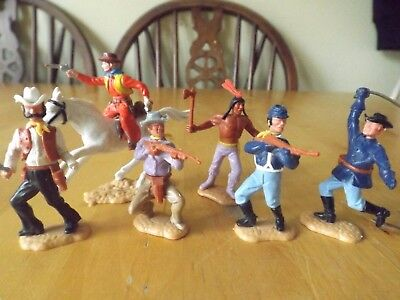 TIMPO WILD WEST PLASTIC FIGURES x 6 COWBOY AND INDIANS