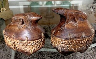 """Vintage Pair Carved Wood Frog Boxes 4""""x4"""" Wicker Trim XLNT Condition Frog Finial"""