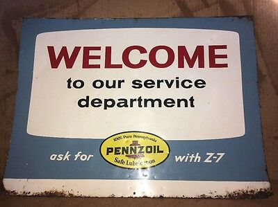 Pennzoil Service Station Department Gas Oil 1 Side Tin Original advertising sign