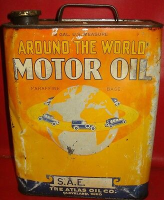 AROUND THE WORLD MOTOR OIL 2 gallon tin can advertising sign gas CAR GRAPHICS