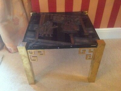 Unusual Vintage Chinese Lacquered Coffee Side Tables Deco style with brass legs