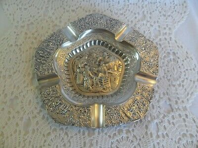 Antique Repousse Silver Plate  Ashtray- Tooth Extraction Scene- Mark- Royal D