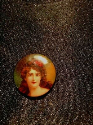 Victorian Lady Cracker Jack Pinback from 1910's-20's