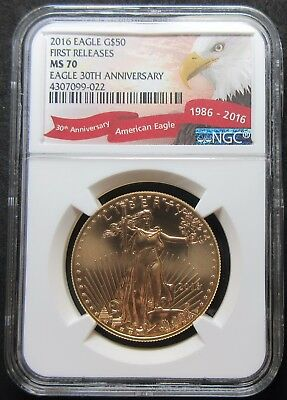 2016 1St Releases 30Th Ann $50 American Eagle 1 Oz Gold Fifty Dollar - Ngc Ms 70