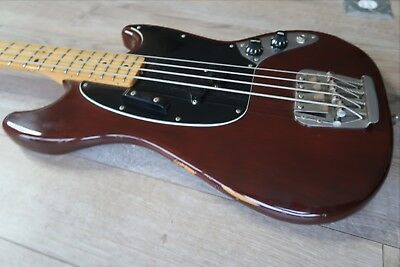 Fender Mustang Bass Mocha '78 Maple 100% percent USA Vintage 1978 EXC ! Case