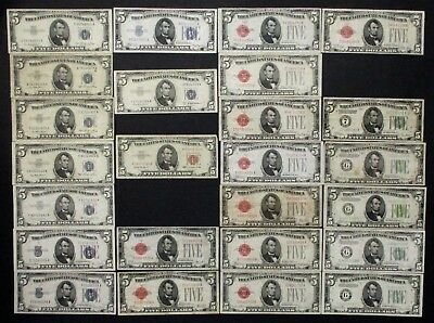 (25x) total $5 NOTES * Red Seals / Silver Cert's / FRNs / Large + Small 5's