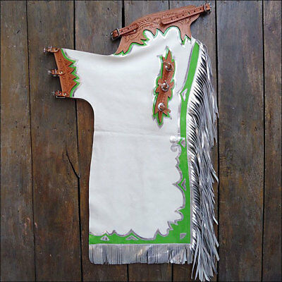 Hilason Pro Rodeo Bronc Bull-Riding Show Genuine Leather Chaps Pbr Prca - White
