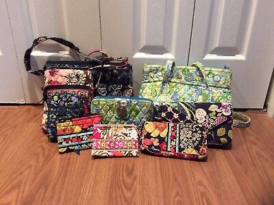 Nine Piece Lot Of Vera Bradley Bags, Assorted Styles And Colors