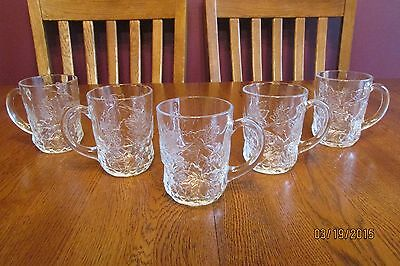 Set Of Five Cristal D'Arques Clear Glass Mallory Coffee Mugs