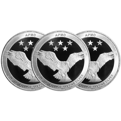 Lot of 3 - 1 Troy oz APMD .999 Fine Silver Round