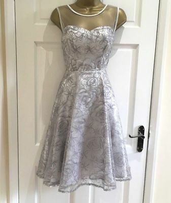 New QUIZ Silver Embellished Lace Prom Ball Party Skater Dress Size 8 10 12 14