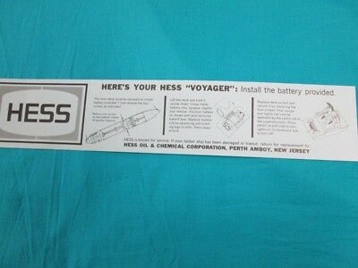 1967 Hess Voyager Battery Instruction Card