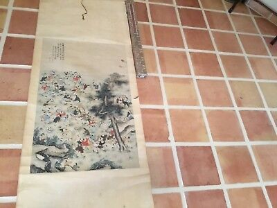 Antique Qing Chinese scroll painting boys day signed + seal mark MAGNIFICENT