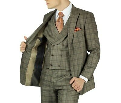 Men's Beige Glen Plaid 3pc 2 Button Modern-Fit Suit NEW w/ Matching Vest