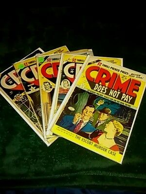 Crime Does Not Pay #89 #90 #92 #93 #96 Golden Age 5 Issue Comic Lot