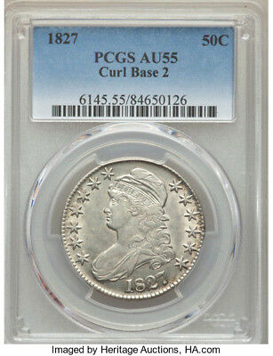 1827 Curl Base 2 * PCGS AU55 * CAPPED BUST Half Dollar 50c * $950++ Nice WHITE !