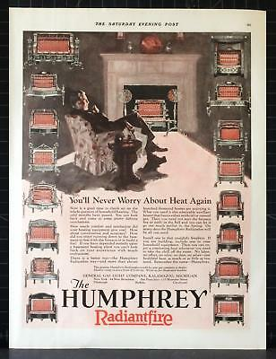 1927 Humphrey Radiantfire Gas Heater Easy Chair Fireplace Vintage Ad