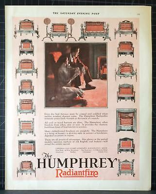 1927 Humphrey Radiantfire Gas Heater Living Room Warm Glow Fireplace Vintage Ad