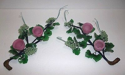 Vintage Chinese Carved Jade PEKING Glass GRAPES Flower Candle Holders Set Of 2