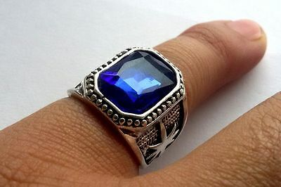 Elegant Tibet silver Carved dragon blue Gemstone men's ring