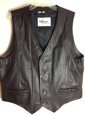 Wilsons Mens Leather Vest Five Buttons Two Pockets Size 46