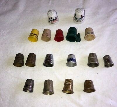 Lot Of 17 Assorted Sewing Thimbles Advertising Porcelain Vintage Old