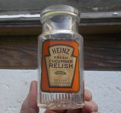 HEINZ CUCUMBER RELISH LABEL & EMB H.J.HEINZ CO 8 SIDED GLASS JAR 1920s