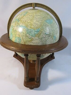 """Vintage George F. Cram Imperial 12"""" USSR Globe with Metal Axis and Wood Base"""