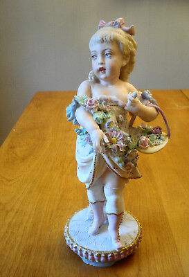 "Large French Bisque Girl with Flower Basket Figurine 12"" Green Anchor Mark"